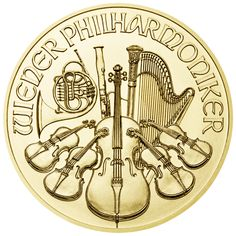 Austrian Gold Wiener (Vienna) Philharmonic Coins Select Gold Philharmonics for an excellent value in pure gold bullion. Austrian Gold Philharmonics Coins are struck in Fine Gold and are highly sought after in Europe, North America and Japan alike. Gold Krugerrand, Gold And Silver Coins, Mint Gold, Gold Bullion Bars, Bullion Coins, Silver Bullion, Piece Euro, Wiener Philharmoniker, Gold Coins For Sale