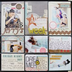 #papercraft #scrapbook #layout Good layout to use for project 365! A layout a week for your daily photo. Of course I'm behind on mine.