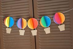 3D bandera de globo de aire caliente  Up y lejos  arco iris
