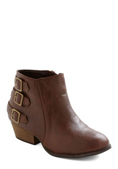 At Your Best Bootie - Tan, Solid, Buckles, Steampunk, Low, Casual, Fall - vegan
