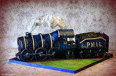 www.thecakeillusionist.co.uk Cake, train cake, steam train, sculpted cake, edible art
