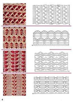 54 Ideas for knitting stitches dictionary charts Crochet Stitches Chart, Crochet Motifs, Crochet Diagram, Filet Crochet, Crochet Lace, Crochet Patterns, Loom Knitting, Knitting Stitches, Motif Bikini Crochet
