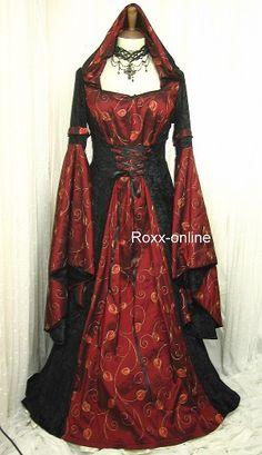 Gothic hooded medieval dress - black velvet & red taffeta 3705.JPG (300×520)