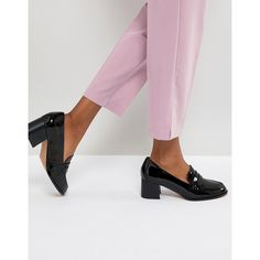 ASOS ONYX Loafer Mid Heels (€37) ❤ liked on Polyvore featuring shoes, pumps, black, black loafer shoes, slip-on loafers, black slip-on shoes, mid-heel pumps and slip on loafers