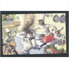 Alfred Mainzer Cats Chefs Cooking in the Kitchen