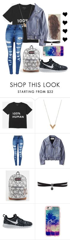 """""School"" remake"" by ombrerose ❤ liked on Polyvore featuring Everlane, Louis Vuitton, WithChic, Acne Studios, JanSport, Fallon, NIKE and Casetify"