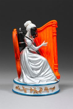 """Australian artist Penny Byrne uses vintage porcelain figurines to create thought-provoking political messages. """"These darkly humorous figurines span a range of issue such as global… Porcelain Jewelry, Porcelain Ceramics, Ceramic Pottery, Ceramic Art, Painted Porcelain, Porcelain Tiles, Contemporary Sculpture, Contemporary Art, Aesthetic Objects"""