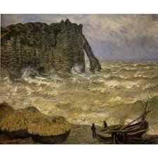 Rough Sea at Étretat by Claude Monet in oil on canvas, done in Now in the Musee des Beaux Arts. Find a fine art print of this Claude Monet painting. Monet Paintings, Great Paintings, Impressionist Paintings, Landscape Paintings, Claude Monet, Pierre Auguste Renoir, Stormy Sea, Oil Painting Reproductions, Kandinsky