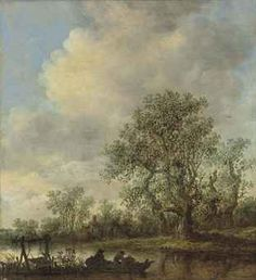 Jan van Goyen - A river landscape with fishermen in a rowing boat and a cottage…