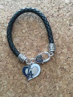 Dodgers Heart Leather Bracelet