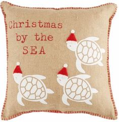 Santa Hat Sea Turtle Pillow.... http://www.completely-coastal.com/2016/12/beach-santa-decorations.html