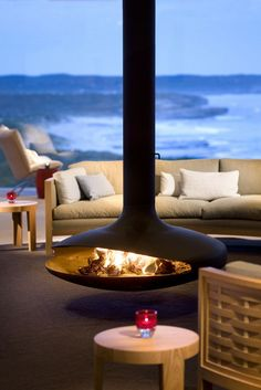 fireplace & view