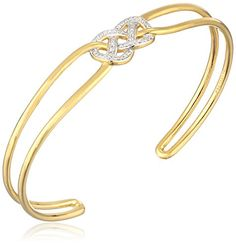 """18k Yellow Gold-Plated Sterling Silver Two-Tone Knot Open Cuff Bracelet, 7.25"""" *** For more information, visit image link."""