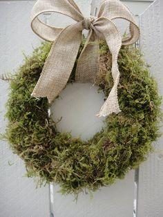 Moss Wreath With Burlap Bow Wedding Wreath Rustic Wreath Natural Wreath Holiday Wreath Rustic Wedding Decor by donnahubbard on Etsy Wreath Crafts, Diy Wreath, Door Wreaths, Burlap Wreath, Small Wreath, Wedding Wreaths, Wedding Bows, Wedding Decor, Rustic Wedding