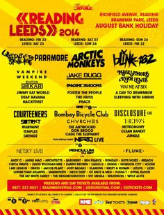 Reading festival and Leeds festival 2014 Line-Up is amazing this year! Click the pin for tickets! #reading #leeds #readingfestival #leedsfestival #tickets #lineup