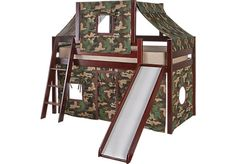 picture of Camo Cabin Cherry Loft Bed w/ Slide and Tent  from Beds Furniture