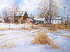 Farm in winter, Northern Utah watercolor SOLD x Korean market street, Shimonoseki, Japan watercolor 20 x Japan Watercolor, Watercolor Images, Watercolor Landscape, Watercolour, Watercolor Painting Techniques, Watercolor Artists, Watercolor Paintings, Winter Painting, Winter Art