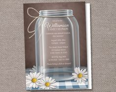 Mason Jar Family Reunion Invitations - Printed or Printable - Rustic Daisy Gingham