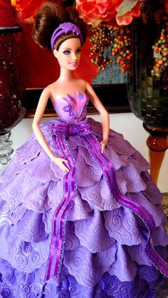 Lauren is this shit possible, but in pink?   Barbie Doll Cake with fondant lavender Ombre dress.