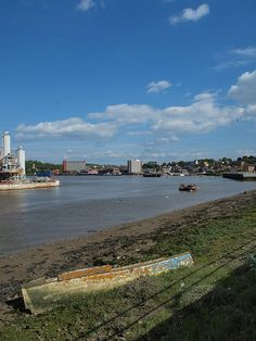A view across the Medway from the Rochester riverside walk looking towards Chatham