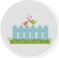 Charts Club Members Only: Bird Fence Cross Stitch Pattern