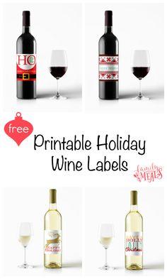 Free Printable Holiday Wine Labels - FamilyFreshMeals.com