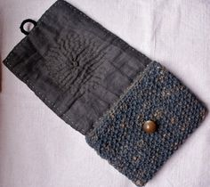 RESERVEDpouch/purse/wallet in antique katazome cotton by lesamovar