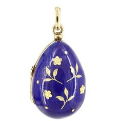 Victor Mayer Faberge 18K Yellow Vintage Blue Enamel Egg Locket With Flowers Limited Edition 29/300