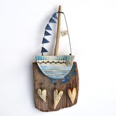Love To Sail - Driftwood Art Shirley Vauvelle - CoastalHome.co.uk: Driftwood