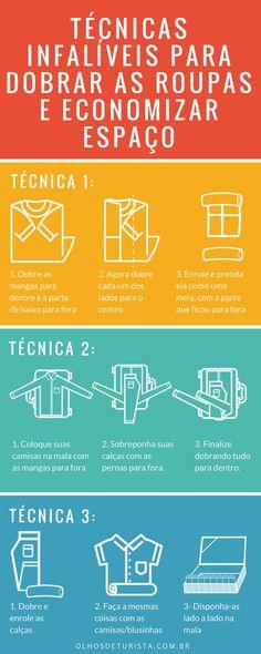 Melhores técnicas para dobrar as roupas e economizar espaço na mala!