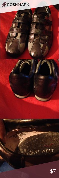 📀📀Slip on Shoes📀📀 Brown & Tan slip on tennis shoes.  In loved condition.  See front pict. Nine West Shoes Sneakers