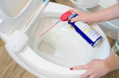 Clean your toilet. --The solvents in WD-40 will help dissolve any gunk and lime in your toilet. Spray your toilet bowl for a couple of seconds and use a toilet brush to help scrub away the grime.