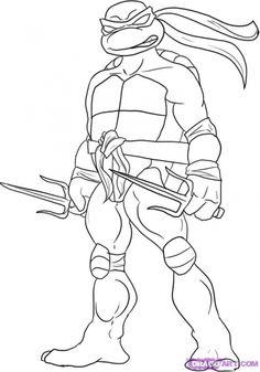 Raphael with his Sai wepon in Teenage Mutant Ninja Turtles coloring page