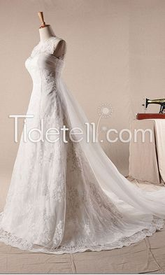 Latest A-line Jewel Organza Appliqued Floor-length Bridal Wedding dresses