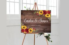 Bridal Shower Welcome Sign, Welcome To Our Wedding, Engagement Party Signs, Wedding Signs, Engagement Rings, Red Rose Wedding, Fall Wedding, Wedding Ideas, Red Sunflower Wedding