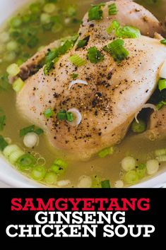 Fragrant and healthy, this life-giving Korean Ginseng Chicken soup will send joy flowing though your veins with every delicious spoonful. And who doesn't love a soup where EVERYONE gets their own chicken!? #koreanfood #koreansoup #samgyetang #ginesengsoup #koreanrecipe #korea #chickensoup #koreansoulfood Asian Chicken Recipes, Easy Asian Recipes, Ethnic Recipes, Vegan Kitchen, Kitchen Recipes, Ginseng Chicken Soup, Korean Ginseng, Kimchi Fried Rice, Fusion Food