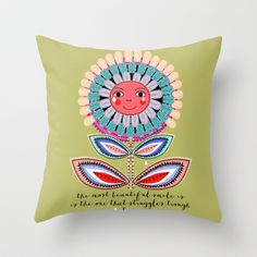 the most beautiful smile Throw Pillow by Elisandra  - $20.00