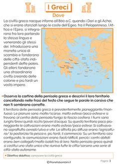 I Greci: Schede Didattiche per la Scuola Primaria   PianetaBambini.it Calm Down Kit, Vkook Fanart, Italian Language, Learning Italian, Ancient Greece, Middle School, Activities For Kids, Education, Teaching