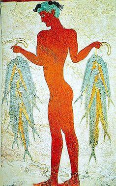 Minoan Fisherman Fresco Art from Akrotiri, Santorini, Greece