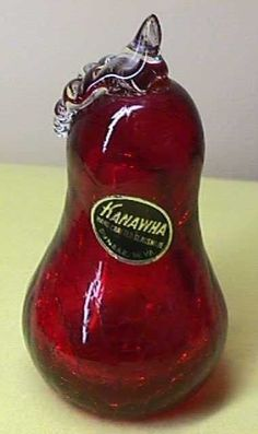 VINTAGE KANAWHA RED CRACKLE  ART GLASS PEAR WITH FOIL LABEL