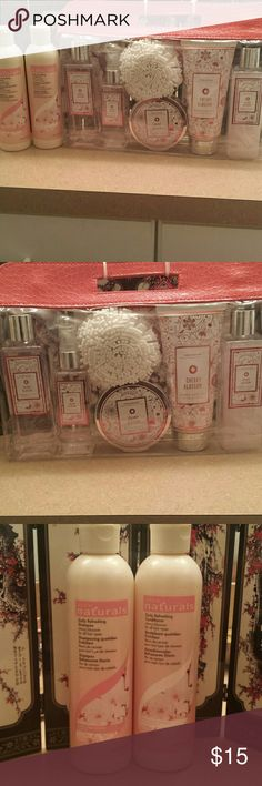 Cherry Blossom Pamper Set This set includes: - Daily Refreshing Shampoo (8.4 oz.) - Daily Refreshing Conditioner ( 8.4 oz.) - Shower Gel (8.4 oz.) - Body Mist (4.7 oz.) - Bath Salts (6.3 oz.) - Body Lotion (6.6 oz.) - Bubble Bath (8.4 oz)  All of the items are cherry blossom scented. None of the items have been opened. Other