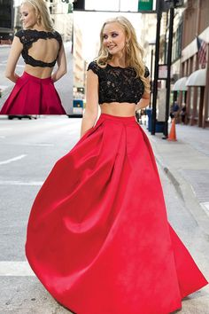 Two Pieces Red Prom Dress,Black Lace Two Pieces Graduation Dress,Black and Red Party Dress,Open Back Prom Gown 2016
