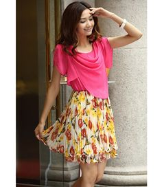 Short Sleeves Collarless Chiffon Floral Print Fashionable Style Dress For Women (JACINTH,XL) China Wholesale - Sammydress.com