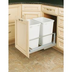 Rev-A-Shelf Premiere Double 35-quart White Waste Containers-5349-18DM-2 at The Home Depot