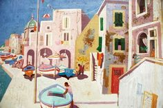 Leon Morrocco - Boats at Procida Home Art, Wedding Table, Mystery, Mysterious, Morocco, Illustration, Boats, Artwork, Artist