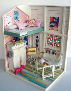 Barbie house DIY idea, small footprint w/big impact