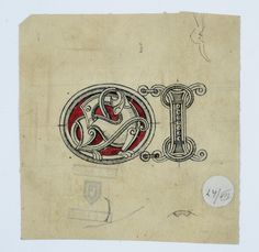 Gustav Gaudernack. Ink drawing/watercolor of dragon style silver belt element.