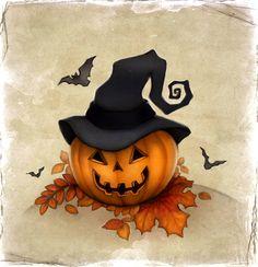 Halloween pumpkin by Sundra-Art on DeviantArt Retro Halloween, Photo Halloween, Casa Halloween, Halloween Signs, Halloween Horror, Holidays Halloween, Halloween Pumpkins, Halloween Crafts, Halloween Decorations