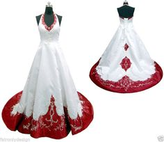 Faironly White/Ivory Halter Embroidery Wedding Dress Bridal Gown Custon Size