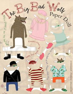 Big bad wolf paper doll jpg download by Tindaisies on Etsy